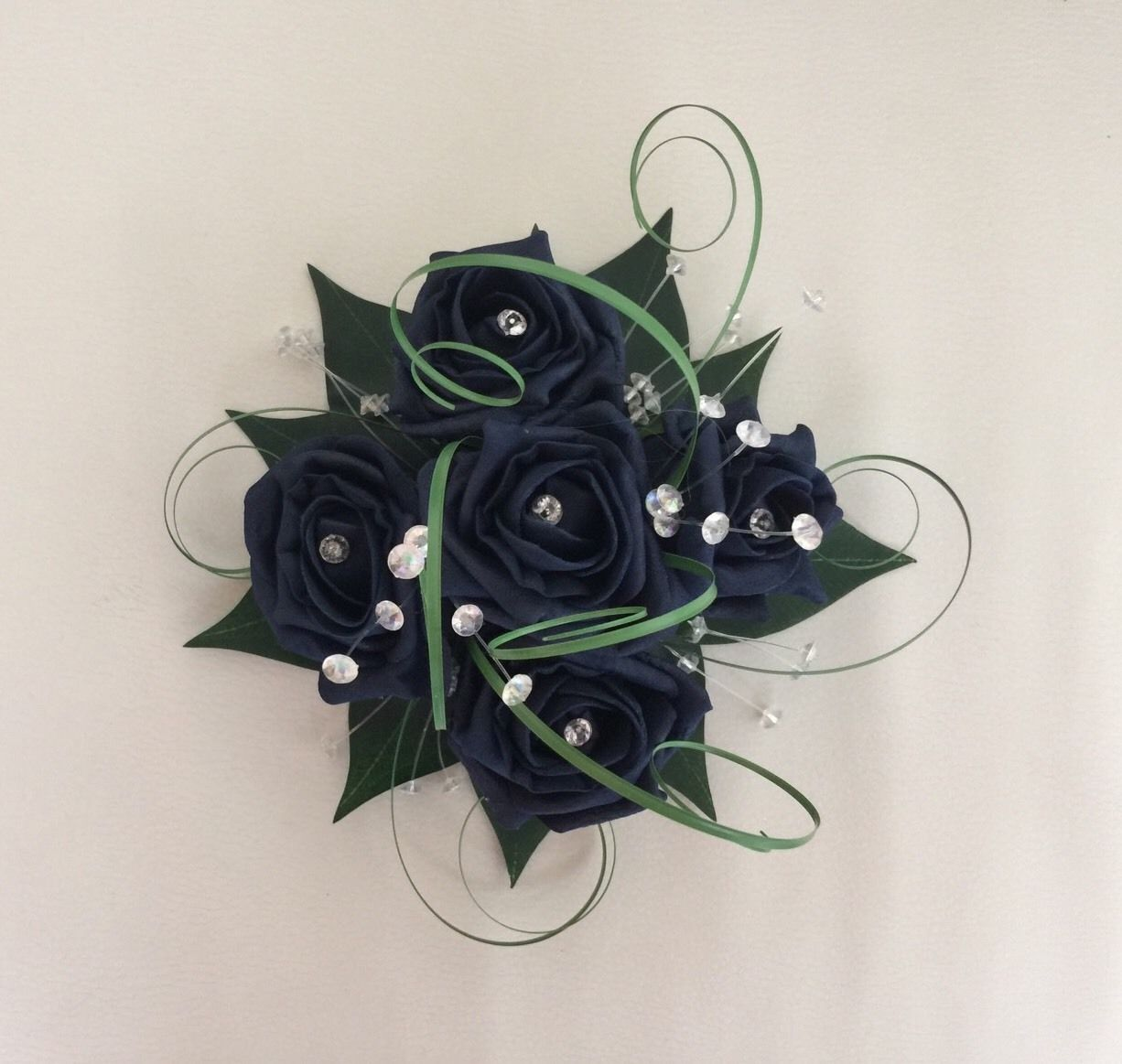 Flowers Navy Blue Wedding Cake Topper Table Decoration Fish Bowl Centrepiece